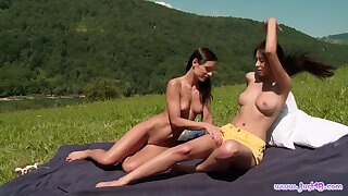Classy outdoor lezzie fun makes chum around with annoy girls go nuts