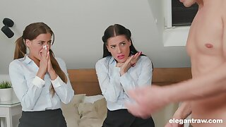 Stepdaughters having a nice threesome not far from their stepdad and fond it