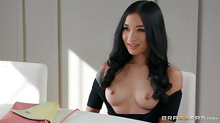 Brunette angel shows off with one large dong hitting her from all angles