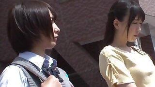 Asian Schoolgirl Lesbian and Teacher on Elevate d vomit Crammer