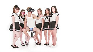 Michael Vegas Has VR Orgy with Babes close to School Uniforms