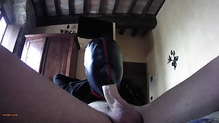 bound and roughly deepthroating a cock in stockings and high heels