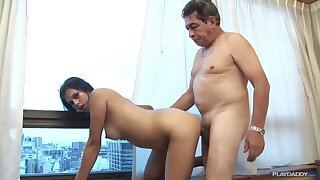 Old grandpa screwing younger brunette wife with perky pair