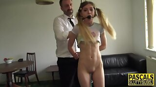 Ball-gagged Pigtailed Teen's Flying BDSM Rough Sex